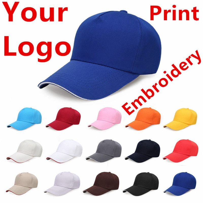 30 piece  Free Custom LOGO Design Cheap Men Women Baseball Cap Embroidery Print Design Logo Text Photo Hat Gorras Snapback