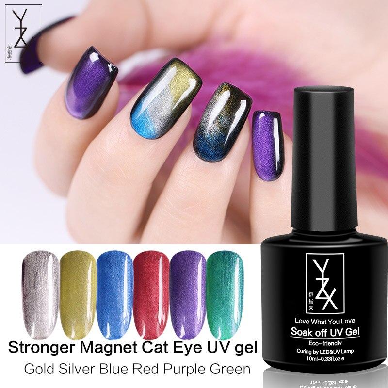 YZX 6Pcs 60Ml Mais Forte Série Gato Magnética Olho Gel Unha Soak Off UV Polonês Long-lasting Híbrido olho de gato Verniz Base Superior Necessário