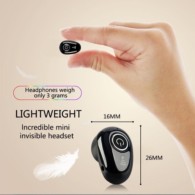 Miniauriculares estéreo con Bluetooth, cascos inalámbricos ocultos pequeños para negocios, manos libres...