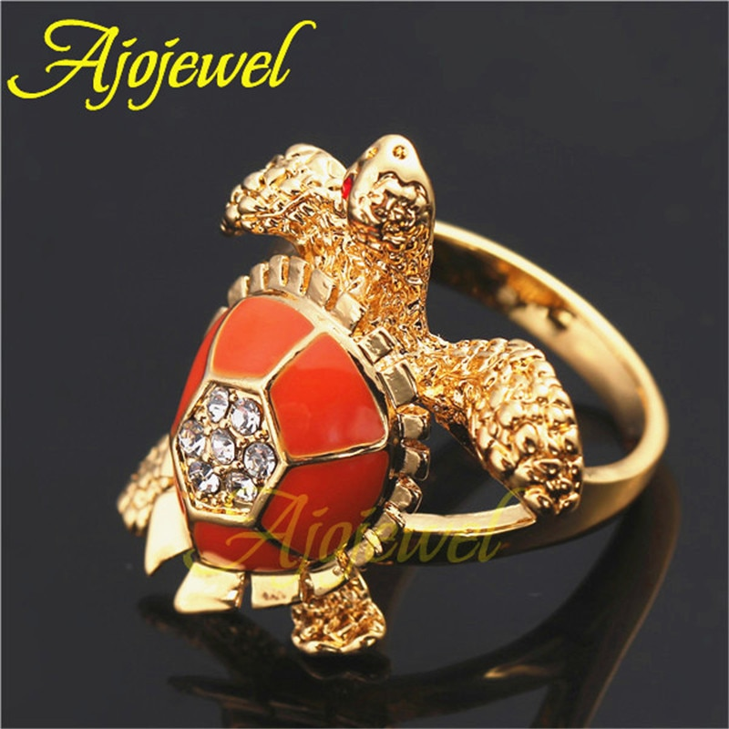 Ajojewel 16mm de diámetro interior moda lindo esmalte naranja único ojo tortuga anillo Rhinestone Animal joyería