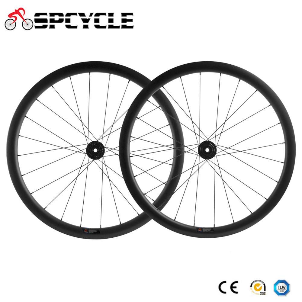 Ruedas de bicicleta de fibra de carbono Spcycle 700 * 40C, ruedas de bicicleta de carbono con forma de U, ruedas de bicicleta de carbono a través del eje 142*12mm