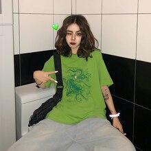 Женская футболка с коротким рукавом в стиле Харадзюку, Винтажная футболка с изображением забавного дракона, Ulzzang, Прямая поставка, одежда, веганский хлопковый Готический сетчатый топ, рубашка в стиле панк