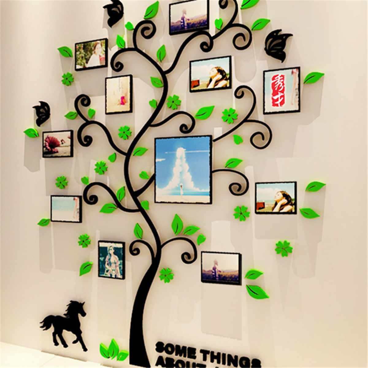 130*107 cm 3D Acryl Foto Rahmen Wand Aufkleber Familie Baum Aufkleber Wohnzimmer Schlafzimmer Kunst Wandbilder Hause Wand dekoration 3 Farben