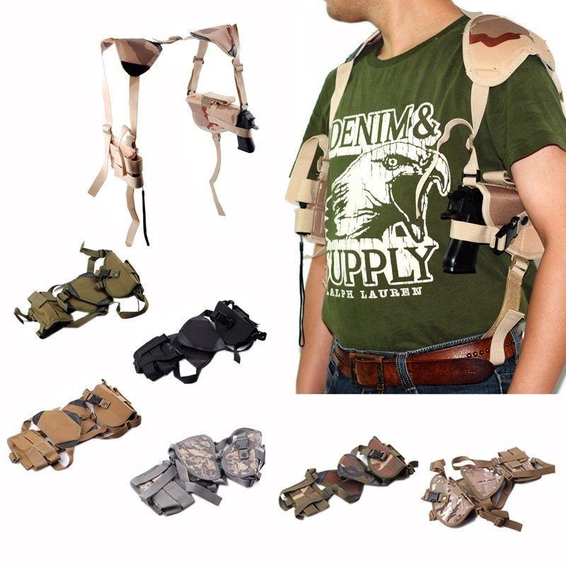 Molle Taktische Horizontale Schultertasche Holster Tactical Pistol Hand Gun Gürtel Holster W/Mag Military Beutel-pistolenhalfter Schulter
