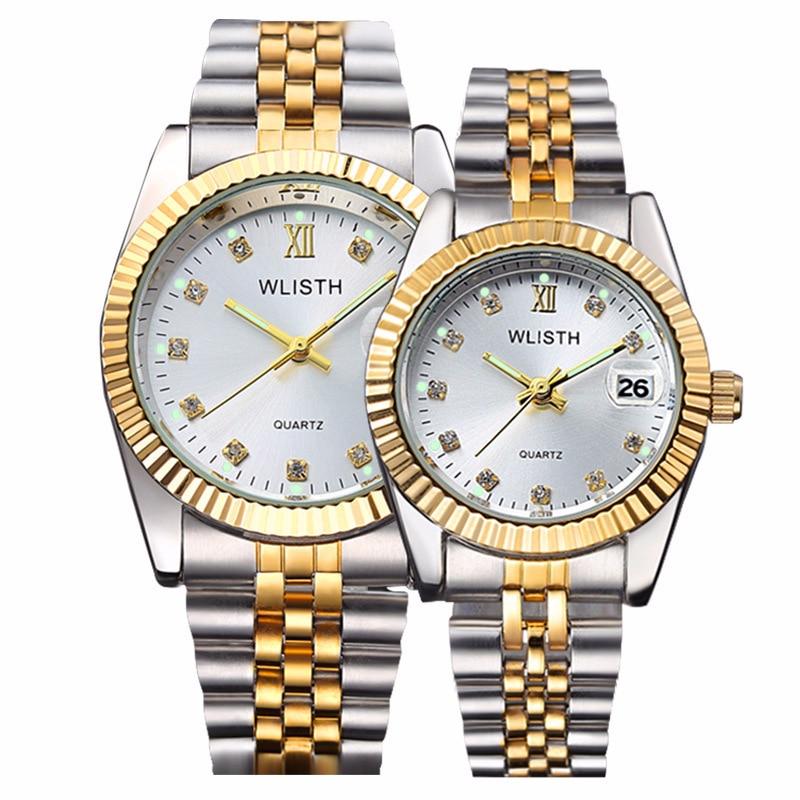 Alta qualidade relógio de moda dos homens relógios ouro aço inoxidável relógio de pulso calendário data wlisth marca luxo feminino à prova dwaterproof água