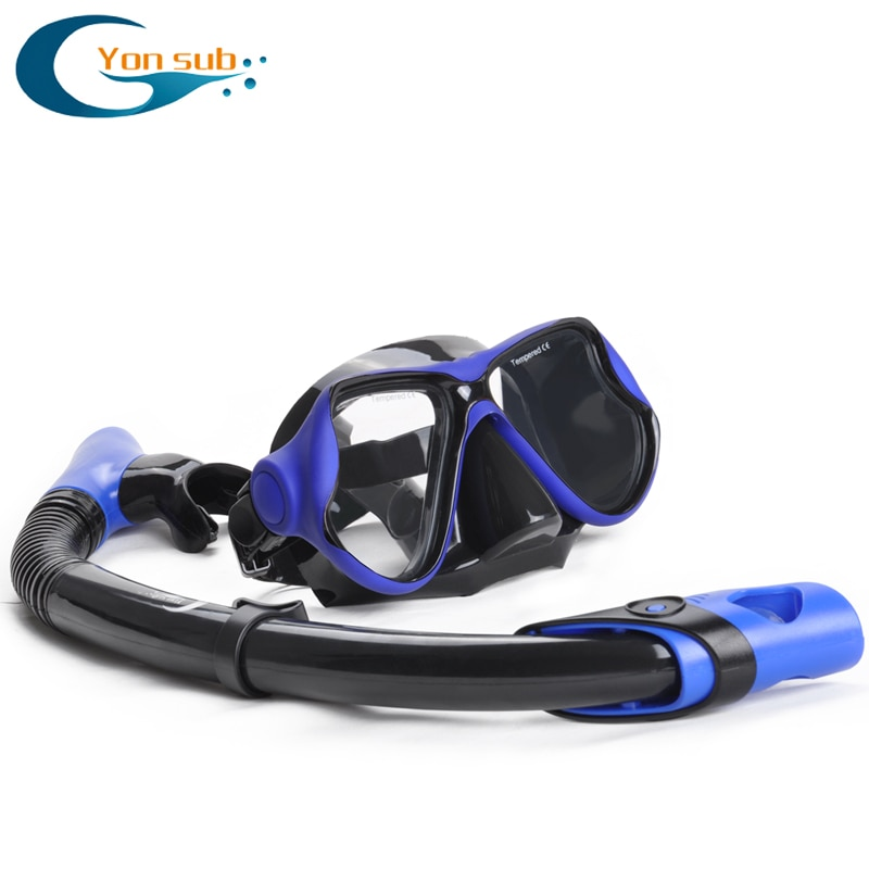 YONSUB Professional Scuba Diving Mask and Snorkels Anti-Fog Goggles Glasses Diving Swimming Dry Snorkel Tube Set Men Women Set