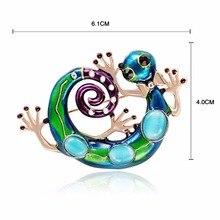 Émail lézard Gecko broches pour femmes filles Corsages vert broche étiquette broches broches bijoux mode