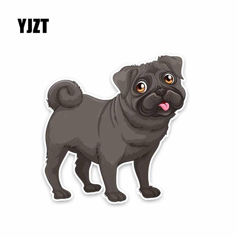 YJZT 11.9*12.4CM Dog Animal Pet Pug Puppy Car Decoration Car Sticker C1-4039