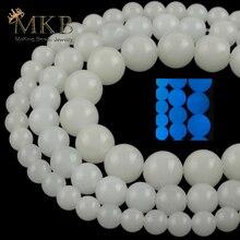 6/8/10mm lumière lumineuse bleue perles breloque perles en pierre naturelle pour la fabrication de bijoux bracelets à faire soi-même accessoires de collier