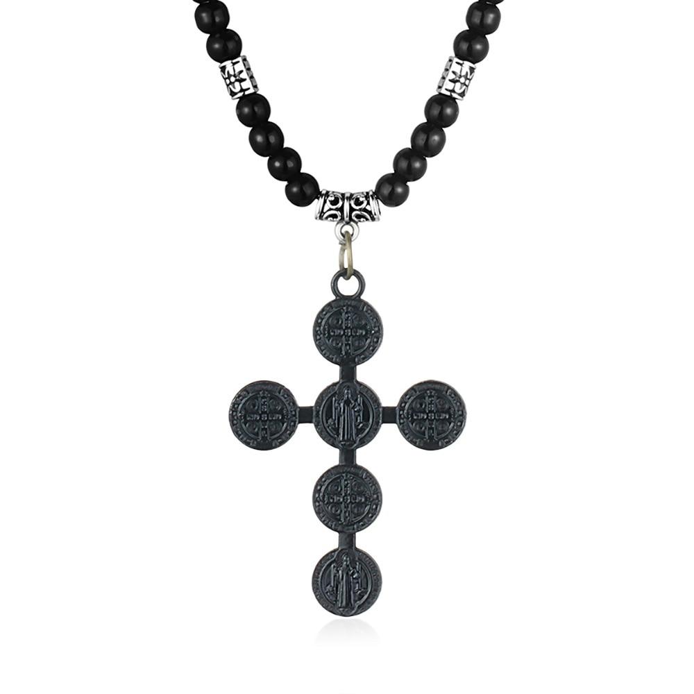 3 uds. Collares con colgante de Cruz para hombre, joyería para mujer, Medalla Benedict Santa, collares con cadenas de cuentas negras, regalos de Cristo MN225