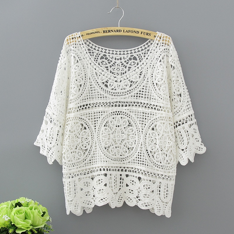 Hollow Out White Blouse Fashion 2020 Summer Crochet Lace Tops Women Transparent Casual Loose Sexy Blouses Womens Clothing 1809
