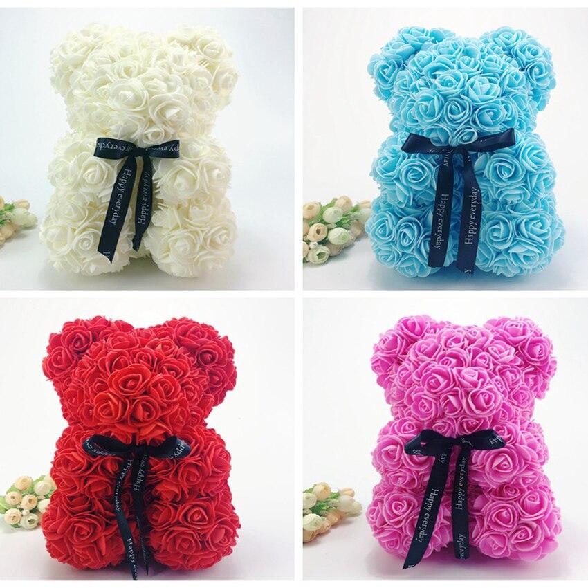 25cm Köpük Ayı Kalıp yapay çiçek Kafa Gül Teddy Bear kutusu ile sevgililer Günü Hediyeleri Parti Düğün Dekorasyon