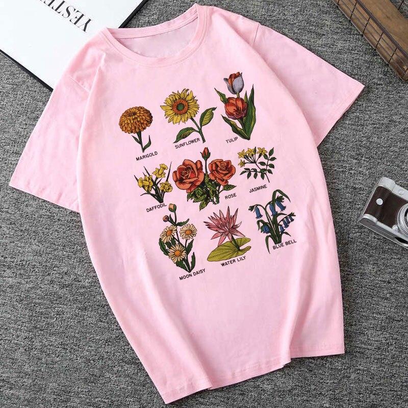 Summer Women Clothes 2019 Harajuku Thin Section T Shirt Vegan Flower Sunlight Plant Grunge Tshirt Hipster Aesthetic Women Top