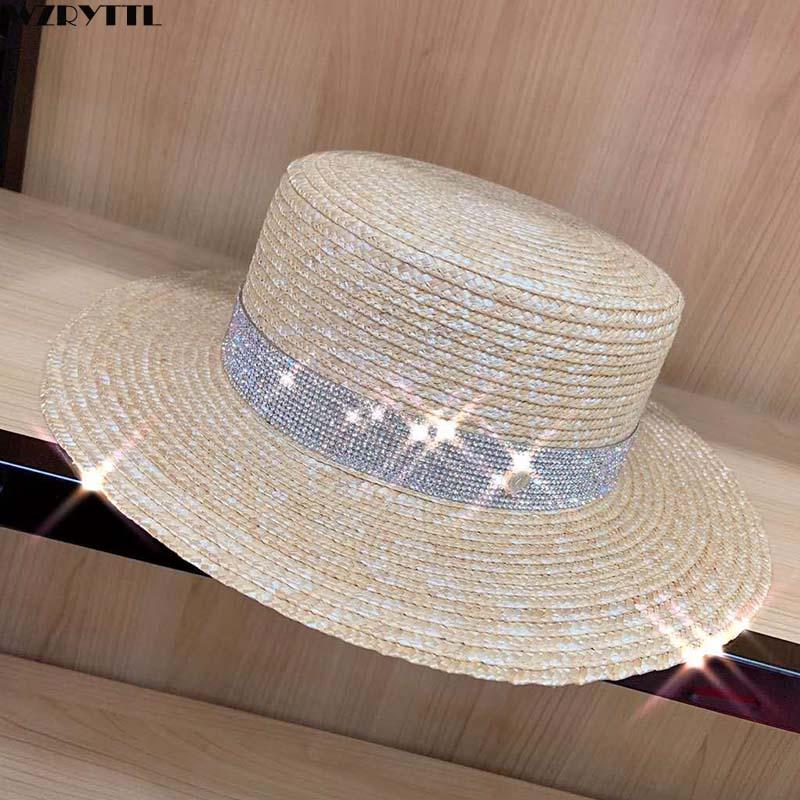 Boater Hat Women Summer Dress Hat Kentucky Derby Straw Hat BlingBling Rhinestone Wide Brim Skimmer UV Sun Beach Hat for Travel
