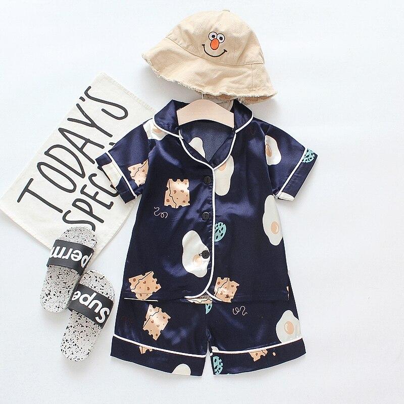 New Summer Children Cute Silk Sleepwear Set Short-sleeved Home Suit Cartoon Girls Pajamas Sets for Kids Tracksuit