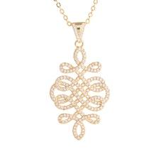 Bijoux Zircon clair noeud chinois charme collier pour femmes accessoires Micro Pave creux fleur pendentif colliers pour mariage