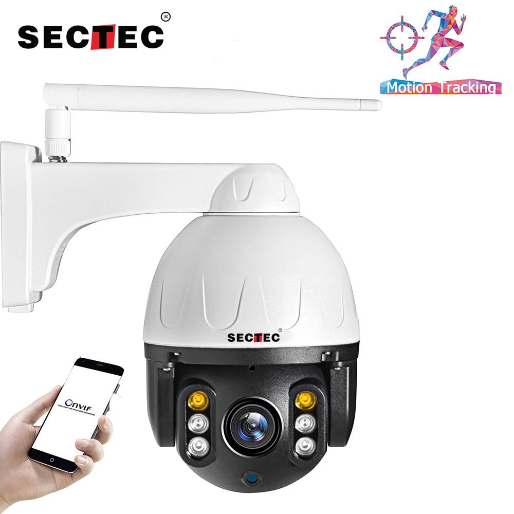 SECTEC-كاميرا مراقبة خارجية على شكل قبة PTZ IP wifi hd 2MP/1080P ، جهاز أمان لاسلكي ، مع تتبع تلقائي ، مقاوم للماء ، الأشعة تحت الحمراء (30 م) وبروتوكول Onvif P2P