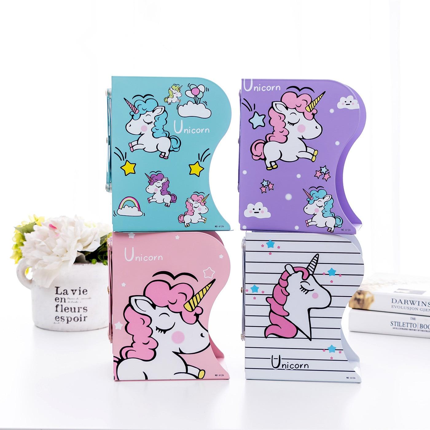 Lindo unicornio telescópico flamenco estantería grande Metal libro soporte escritorio soporte para libros organizador regalo papelería