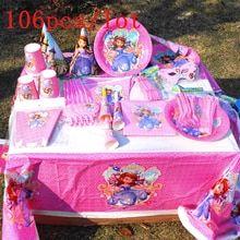 106 teile/los Disney Prinzessin Sofia Design Rosa Einweg Geschirr Mädchen Geburtstag Party Dekoration Für Familie Party Versorgung