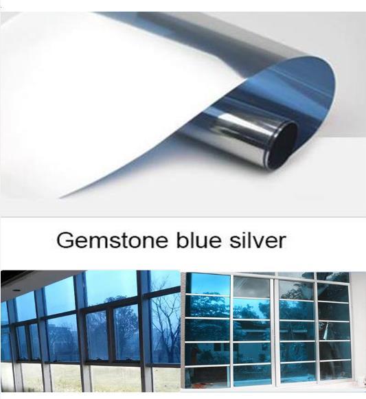 Película de ventana resistente al agua de plata y azul con piedras preciosas, pegatinas de aislamiento plateadas espejadas de un solo sentido, decoración de películas de tinte para privacidad con rechazo UV