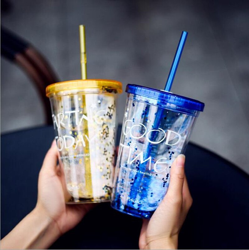 Moda BlingBling copa de paja de verano 450ml buen tiempo doble plástico con una paja de agua copo com canudo