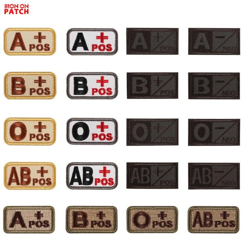 Parche bordado 3D tipo sangre, capítulo A + B + AB + O + A-B-AB-O POS frontal, parche negativo tipo sangre, insignia táctica militar