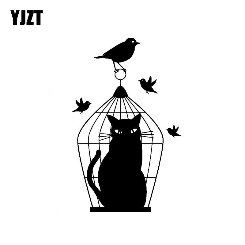 YJZT 11.1CM*17.8CM Car Sticker Vinyl Fun Decal Bird Caught In Cage Sad Cat Deception Outwitted Black Silver C10-02458