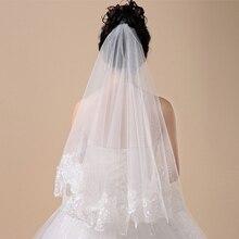 Femmes 150cm mariée court mariage voile blanc une couche dentelle fleur bord Appliques