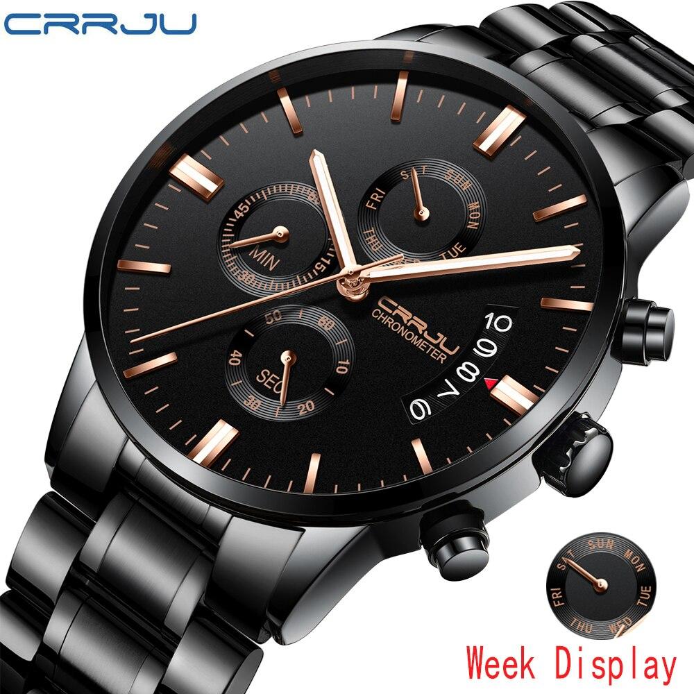 Crrju, relojes de marca superior para hombre, reloj de cuarzo con fecha resistente al agua de lujo, reloj de pulsera deportivo de acero inoxidable para hombre, reloj resistente al agua