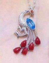 Natural colgante color coral rojo natural azul Colgante de Topacio Collar de plata de ley 925 elegante hermoso Pavo Real regalo de joyería fina