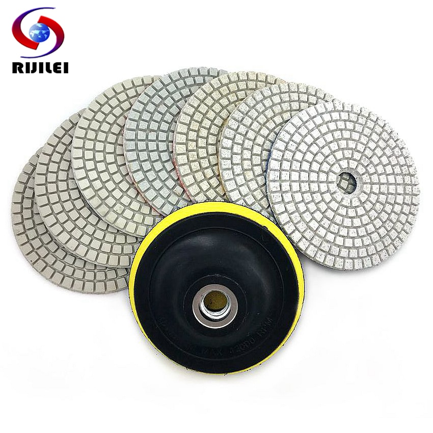 AliExpress - RIJILEI 7Pcs/Set 3″/4″ Flexible Diamond Polishing Pad 80/100mm Polishing Pad Granite Wet Polishing Pad HC05