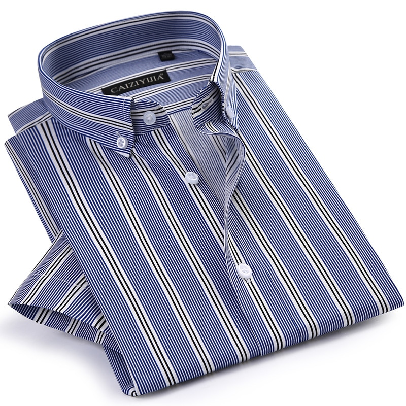 GREVOL New Summer Men's Cotton Short Sleeve Striped Shirts Male 100% Cotton Casual Shirts Multiple Striped Turn-down Shirt