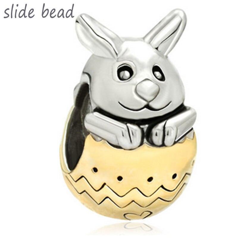 Cuentas para hacer joyas de tono bonito conejo Pascua abalorio. Ajuste Pandora Charm bracelet