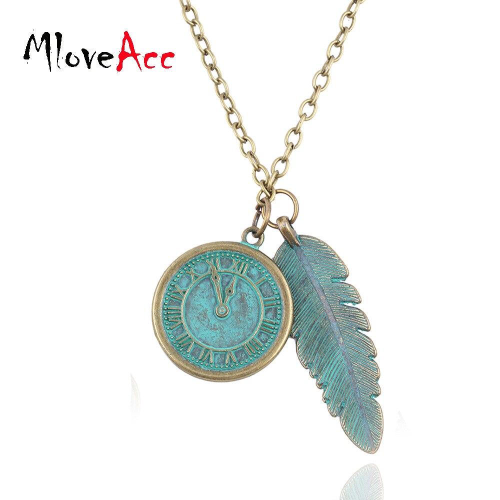 MloveAcc Moda pena Colar Vintage & Pingente Colares Melhor Presente do relógio para as mulheres