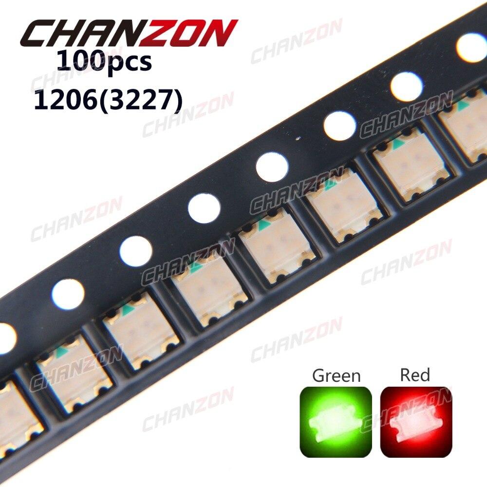100 Uds SMD 1206 (3227) LED Beads verde y rojo Bicolor LED Chip 2V lámpara de diodo emisor SMT Dispositivo montado en superficie para PCB