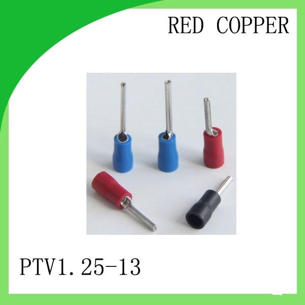 Rotes kupfer 1000 STÜCKE PTV1.25-13 Kaltgepresstes Terminal für 22AWG-16AWG Pin Vorge isolierenden draht terminal
