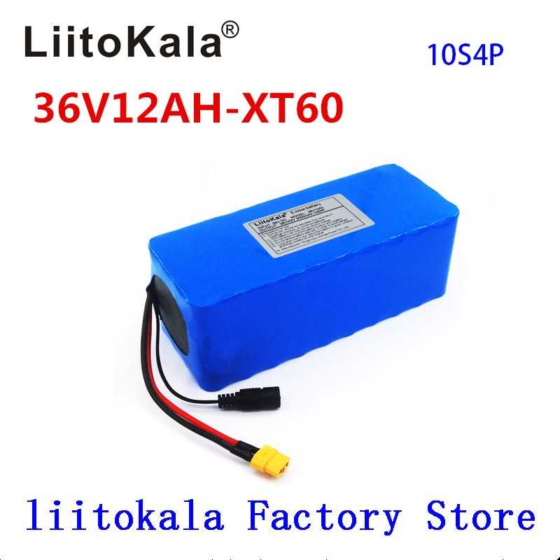 LiitoKala 36 V 12ah 10S4P אופניים חשמליים סוללה 18650 ליתיום יון 500 W גבוהה כוח 42 V אופנוע Scoote XT60 זכר