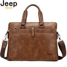 JEEP BULUO Simple célèbre marque affaires porte-documents pour homme luxe en cuir 14 pouces pochette dordinateur homme sac à bandoulière bolsa maleta 9616
