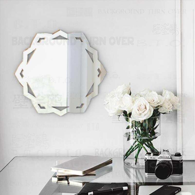 Modern yuvarlak cam konsol venedik duvar dekoratif 3mm kalın 3D akrilik dekoratif Dresser ayna M017
