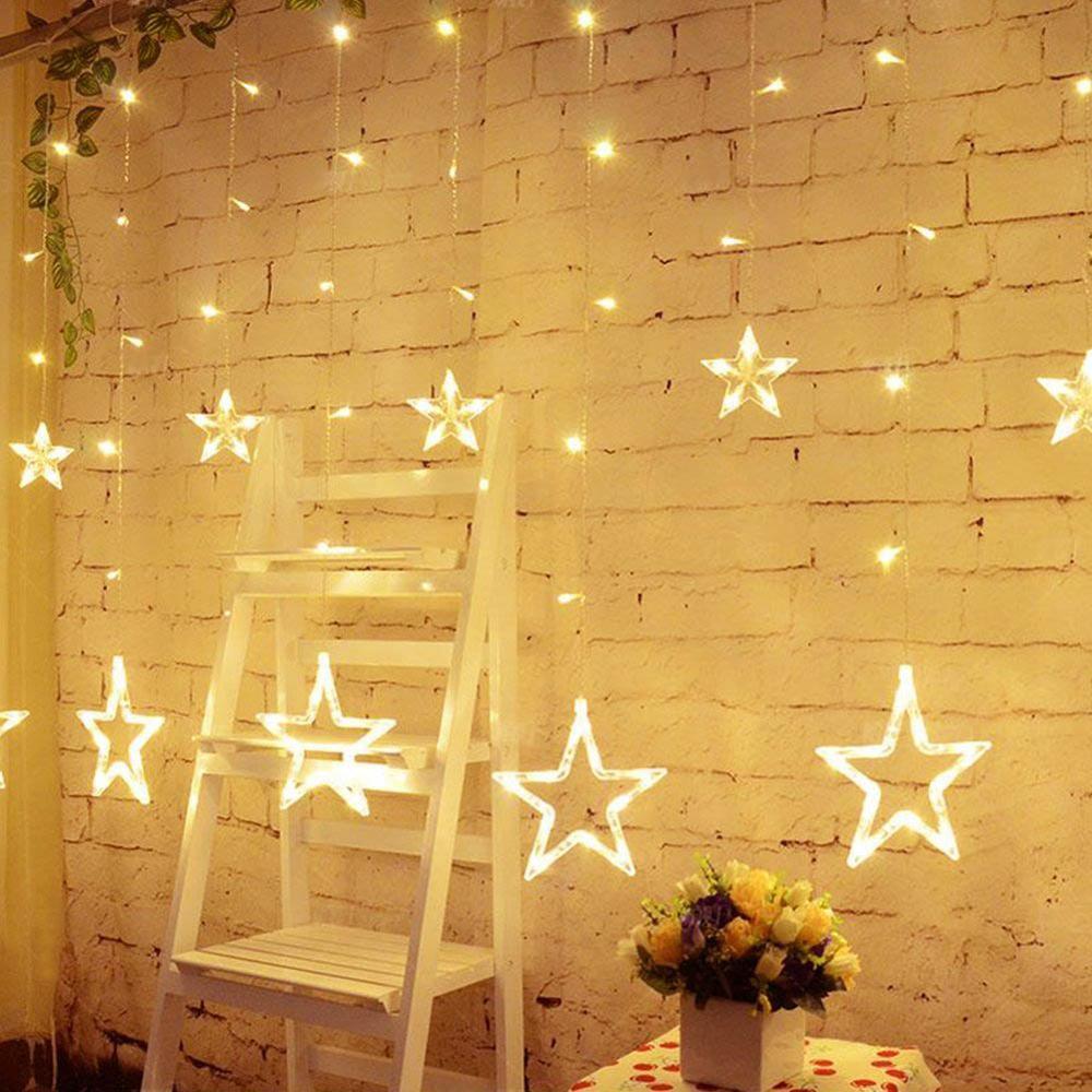 Pentagrama cortina de estrellas luces guirnalda luces Hada fiesta boda cumpleaños Navidad iluminación interior Decoración Luz