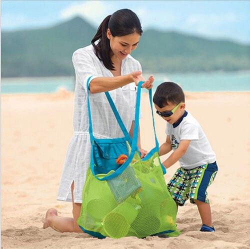 Niños arena objetos recoger juguetes bolsa de malla Tote playa caparazón de almacenamiento bolsa de red
