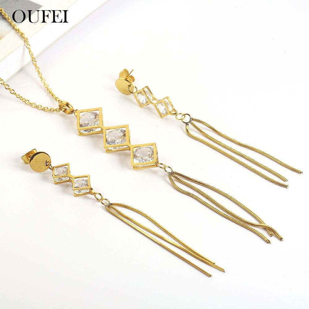 OUFEI pendientes de acero inoxidable para mujer conjuntos de joyas collar borla bohemio y conjunto de aretes accesorios de joyería 26 letras nec