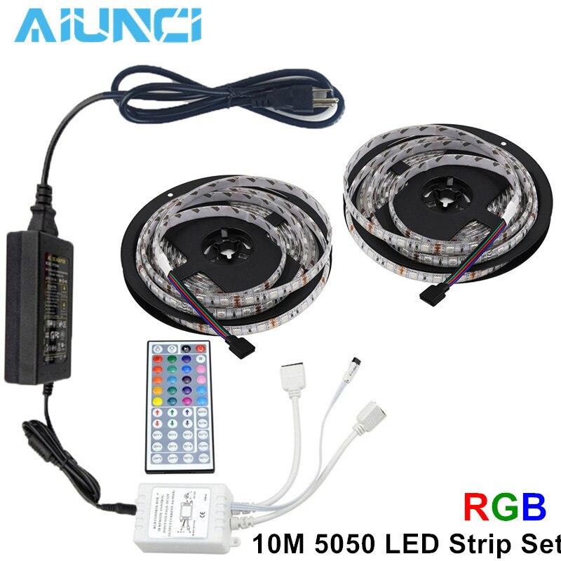 Tira de luces LED RGB de alta calidad, resistente al agua, luz nocturna de 5 m/10 m SMD 5050 cinta de luz + mando a distancia 44key + adaptador de corriente