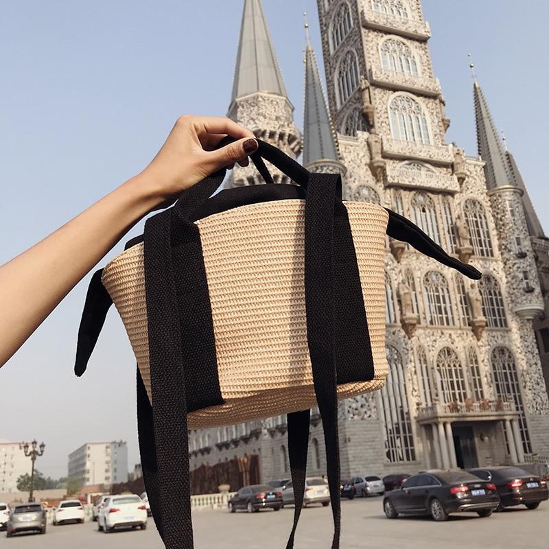Handgemachte Frauen Stroh Taschen Designer Candy Farbe Verbund Handtaschen Hawaii Strand Sommer Handtasche Japan Stil Big Bag Bolsa Feminina