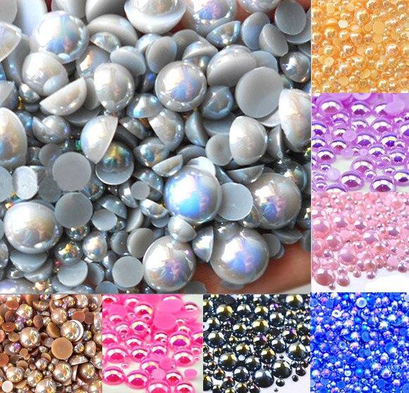Cuentas de perlas mezcladas de 2 a 10mm de color gris AB, cuentas de perlas semiredondas para manualidades, decoración para álbumes de recortes, cuentas para prenda de arte con reverso plano, 500 Uds.