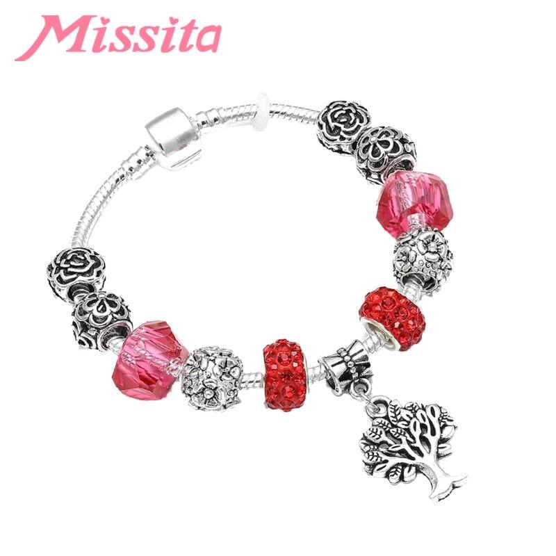 MISSITA Natural & Life Series encantos pulsera con cuentas de Murano rojo colgante de árbol pulseras de marca para mujer joyería de aniversario