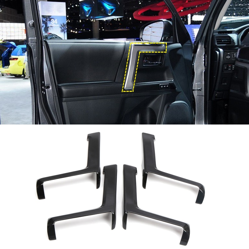 Accesorios para coche, cinta de reposabrazos lateral para puerta, 4 Uds. Embellecedor ABS para Toyota 4Runner 2010-2019