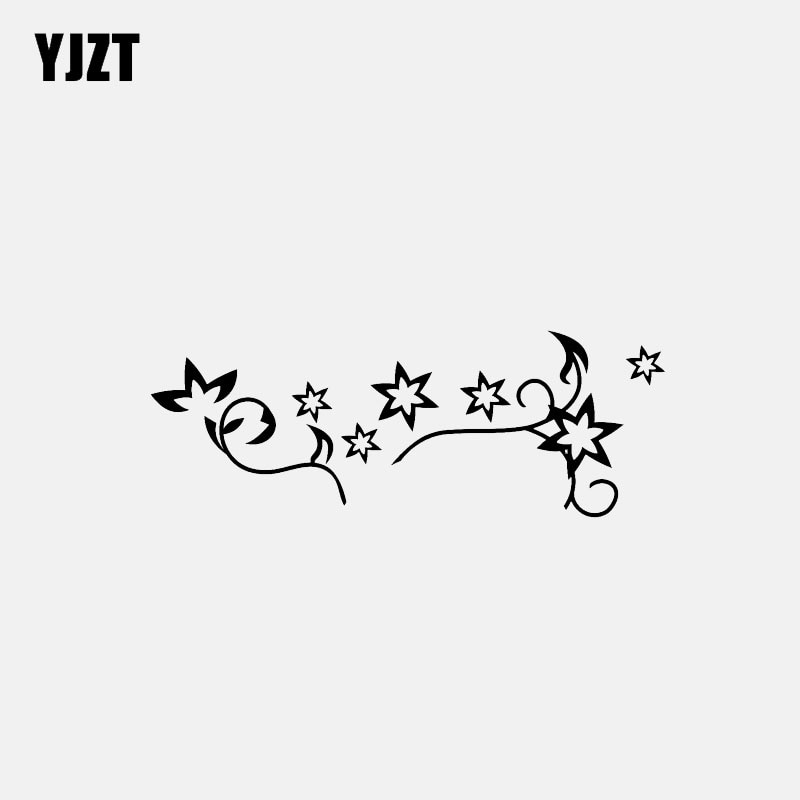 YJZT 13,8 CM * 5CM estrella flor vinilo calcomanía dibujos animados coche pegatina negro/plata C3-0697