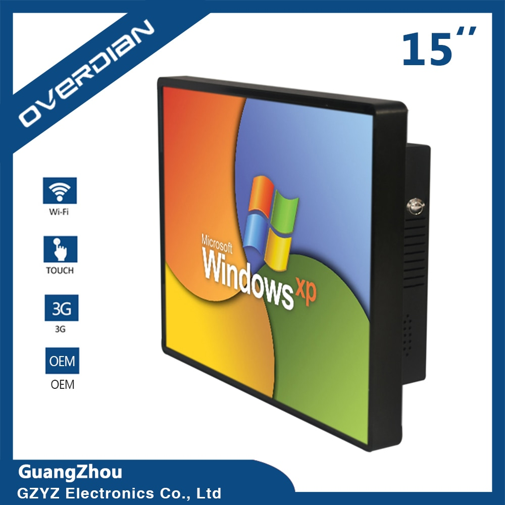 15 Inch Industrial Computer WIN 7 System Built in WiFi Capacitive Touch Screen Desktop Computer Tablet PC 2G SSD 32G LCD Screen