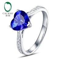 free shipping 14k white gold heart cut 1 50ct flashing blue tanzanite gem diamond wedding ring